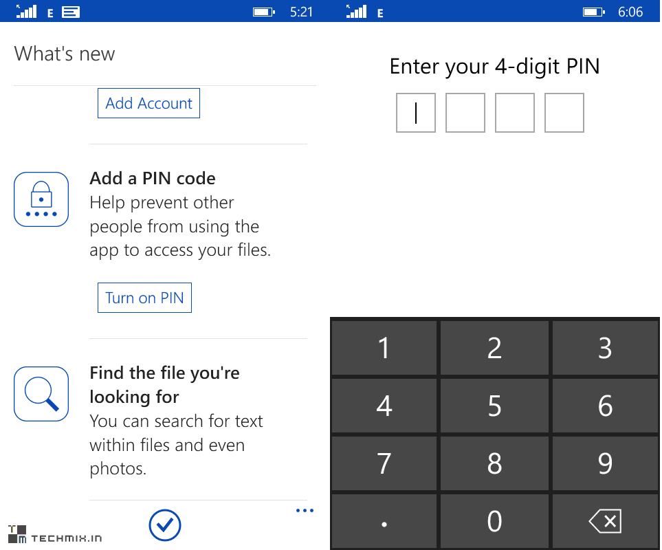 onedrive with pin lock for windows phone
