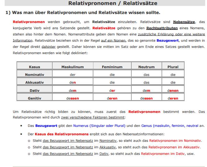 relativpronomen på tysk