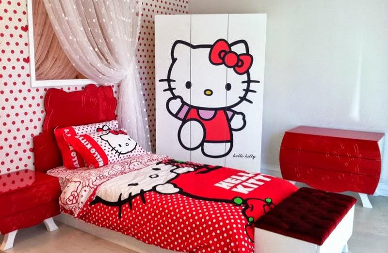 gambar kamar tidur hello kitty warna pink desain kamar