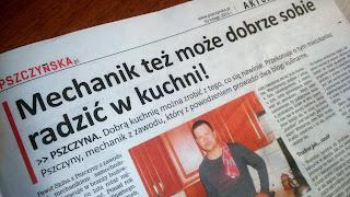 Gazeta Pszczyńska Mechanik w kuchni Mechanik grilluje blog kulinarny prasa artykuł prasowy blogerzy bloger