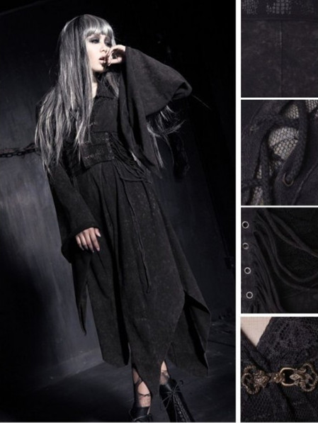 Black Vintage Gothic Cyber Punk Dress for Women