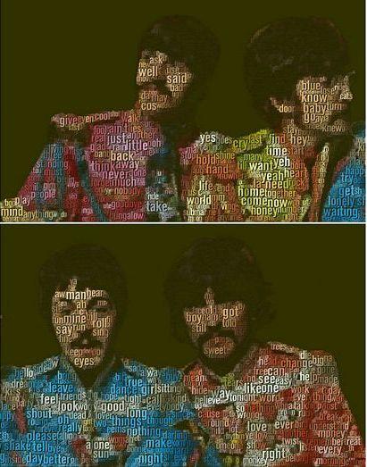 Lukisan kumpulan the beatles-menggunakan lirik daripada 290 buah lagu