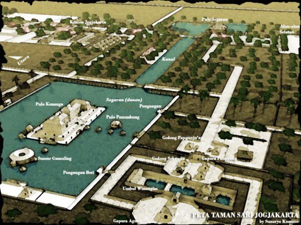 Sejarah Taman Sari Yogyakarta | Taman Sari Jogja - Sketsa Komplek
