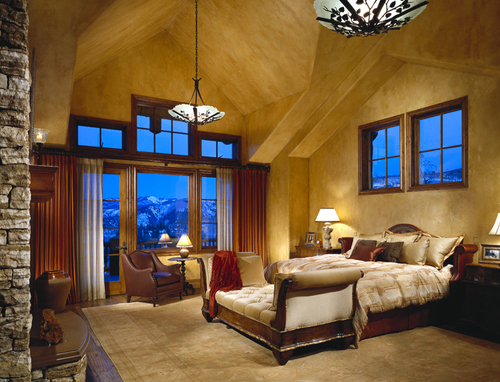Mountain house bedroom decor luxury lifestyle design Mountain home interiors