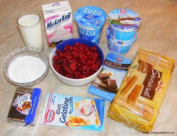 ingrediente tort cu visine si piscoturi, ce ingrediente ne trebuie pentru prepararea tortului cu visine si piscoturi, ingrediente tort cu fructe, retete culinare, retete,