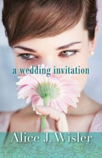 image from front cover of novel, A Wedding Invitation, by author, Alice Wisler, in which a girl holds a pink flower in front of her face.