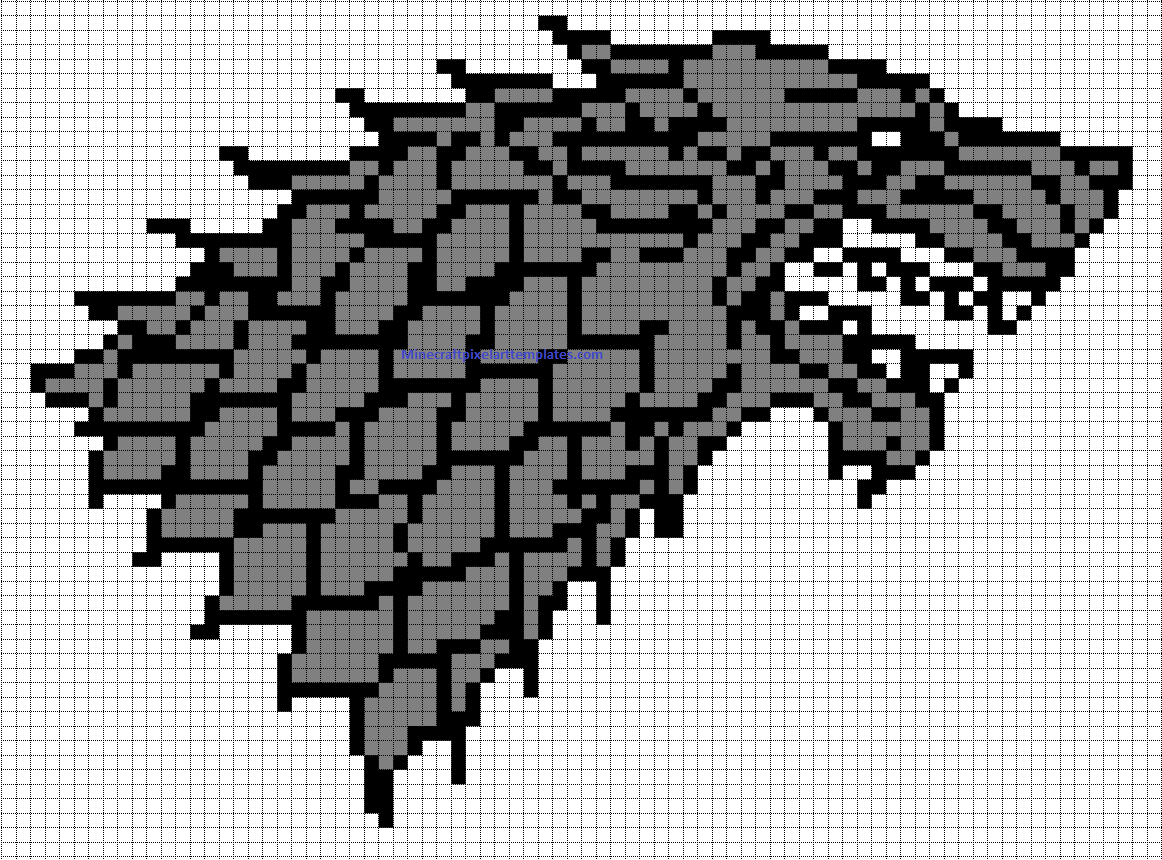 Minecraft Pixel Art Templates House Stark badge Game of thrones – Minecraft Pixel Art Template