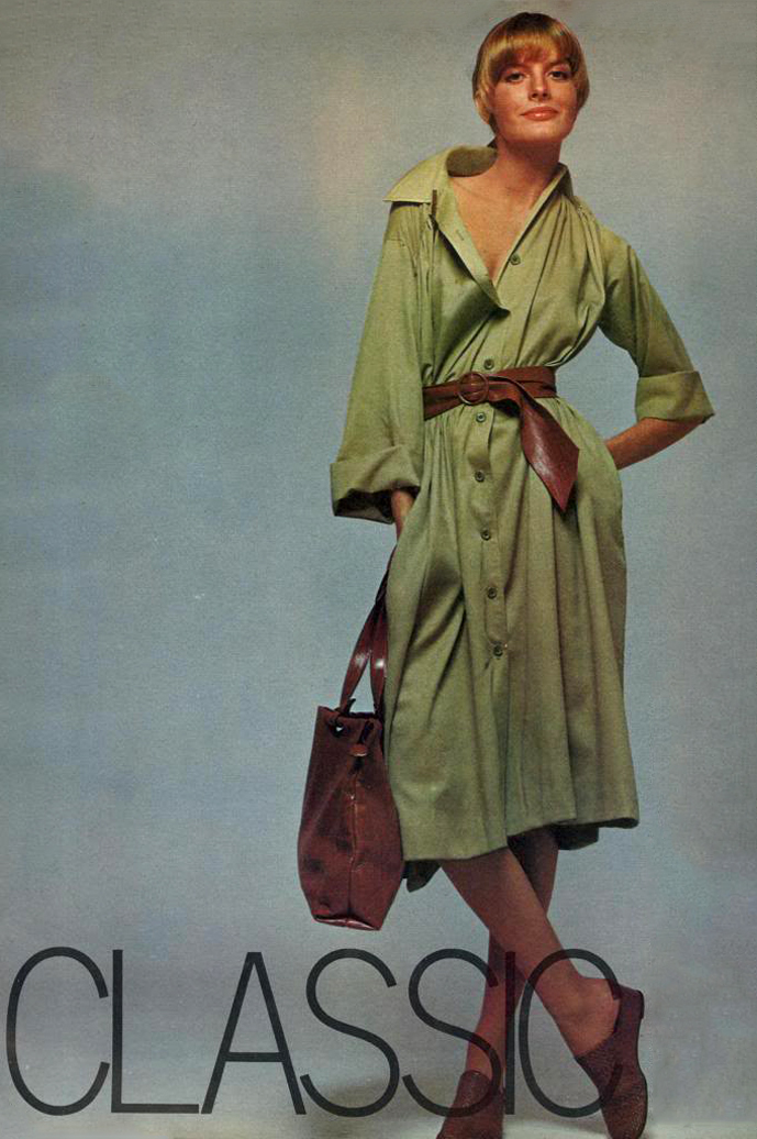 The shirt dress. The olive fabric. Brown leather tote and matching belt to compliment. As worned by Rene Russo in Vogue US February 1975 via fashioned by love / british fashion blog