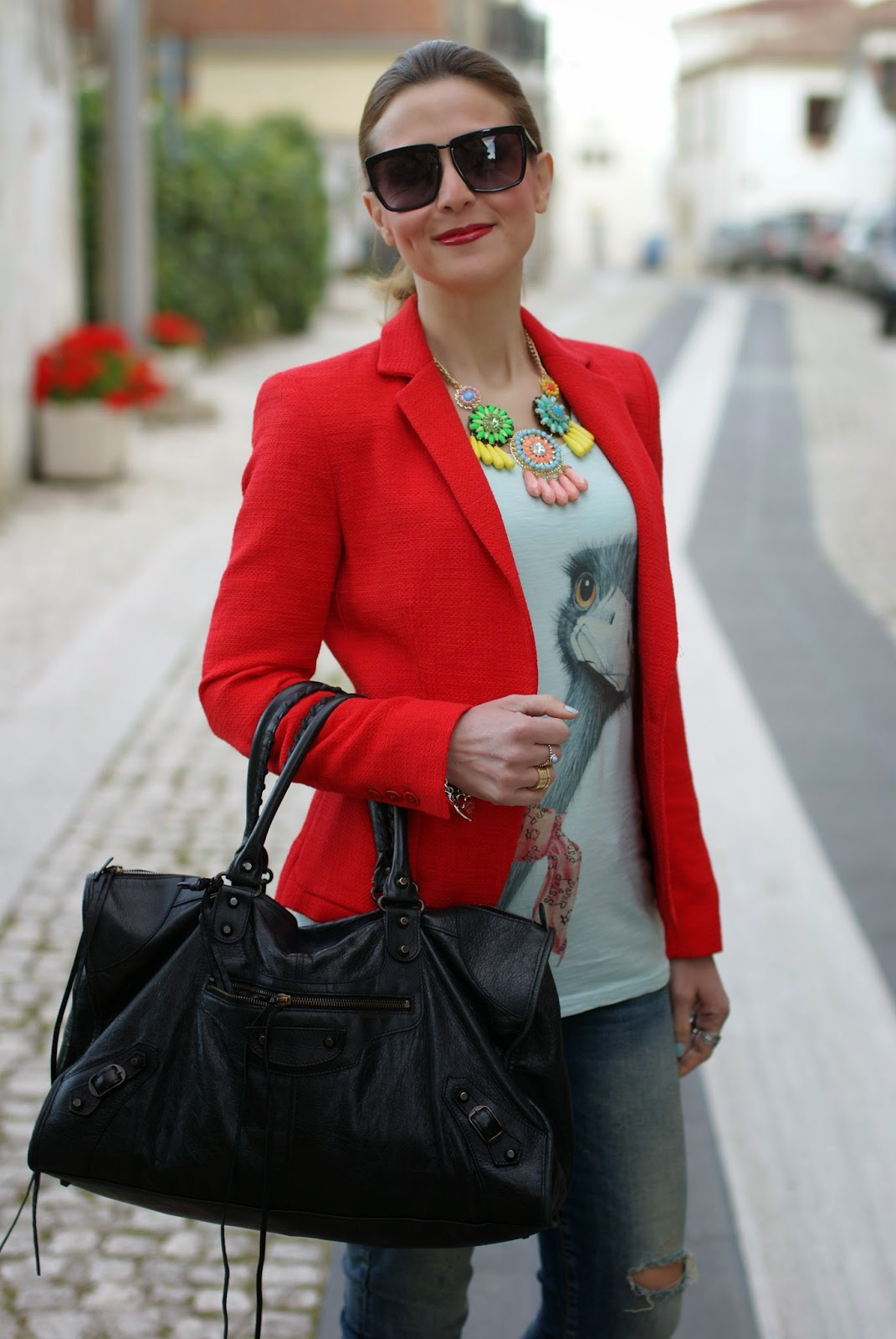 ostrich tee, sister & sister, zara blazer, balenciaga work, Fashion and Cookies, fashion blogger