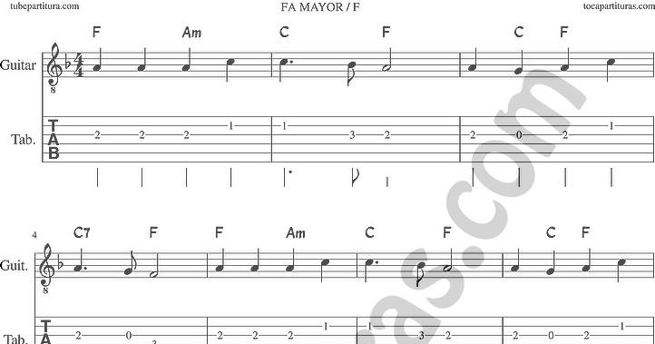 ... We Have Heard on High Tablatura de Guitarra en Fa Mayor con Acordes