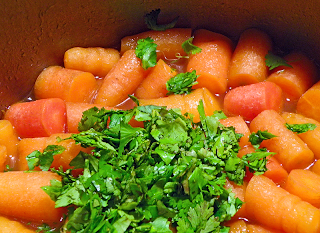 Carrots and Cilantro in Soup Base