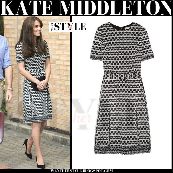 Kate Middleton in black and white printed short sleeve tory burch paulina dress and black pumps what she wore style