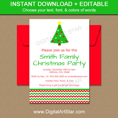 christmas invitation digital download