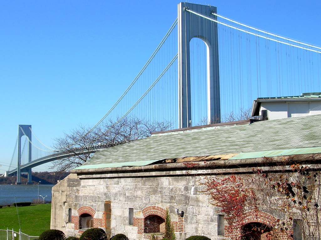 View of Verrazano Bridge from inside Fort Hamilton
