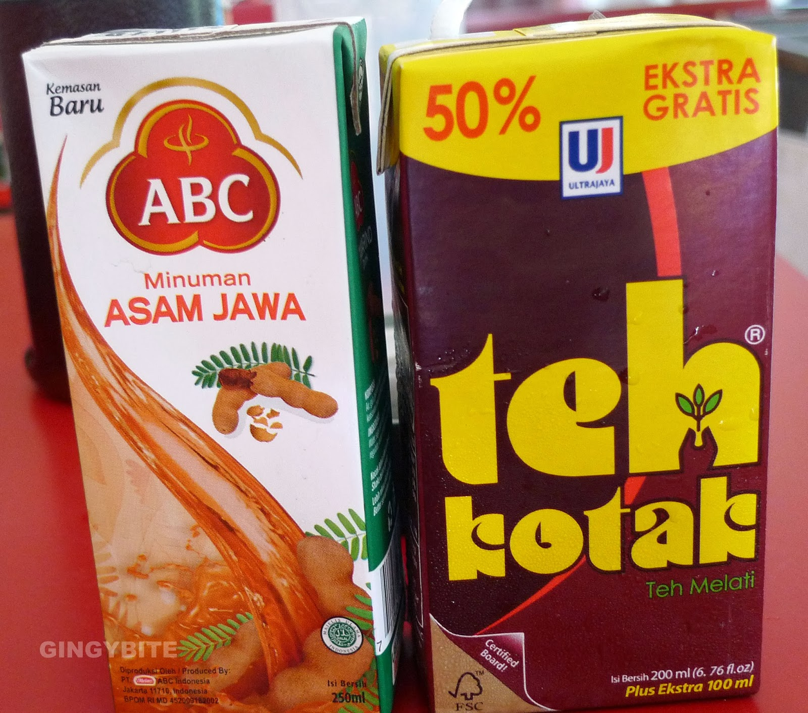 Asam Jawa Drink and Teh Kotak