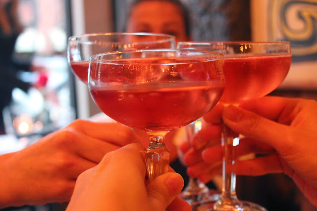 Toasting with rose at Parla, Boston, Mass.