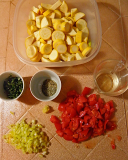 Display of Cut Up Veggies and other Ingredients