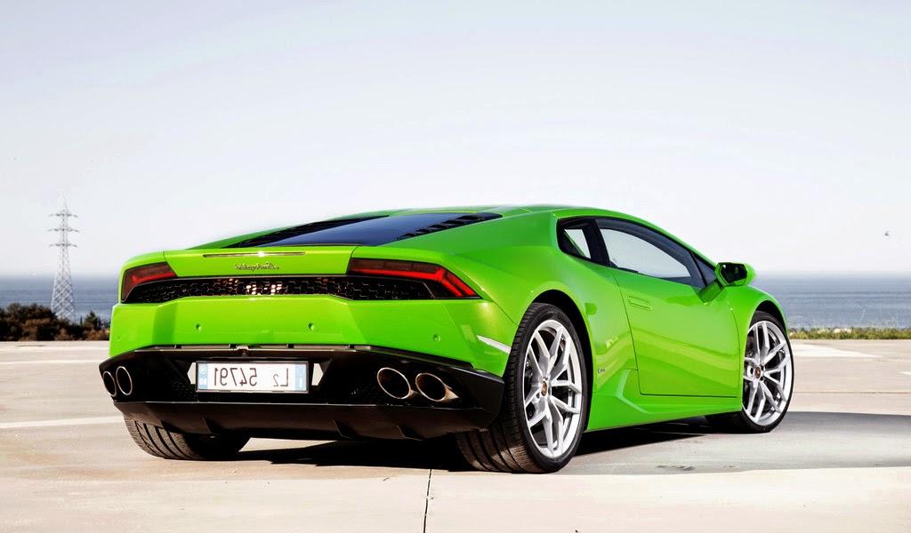 2015 Lamborghini Huracan Green LP 610-4 Rear View Wallpaper