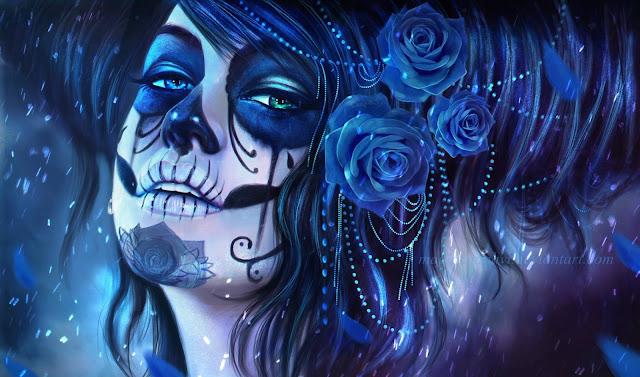 dia de los muertos,digital art,blue rose