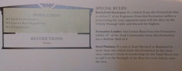 1 tank commandre, 3 escuadrones de Leman Russ, 1 a 3 visioingenieros