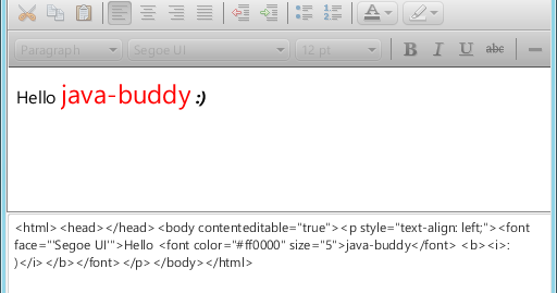 Java-Buddy: Obtain content of HTMLEditor