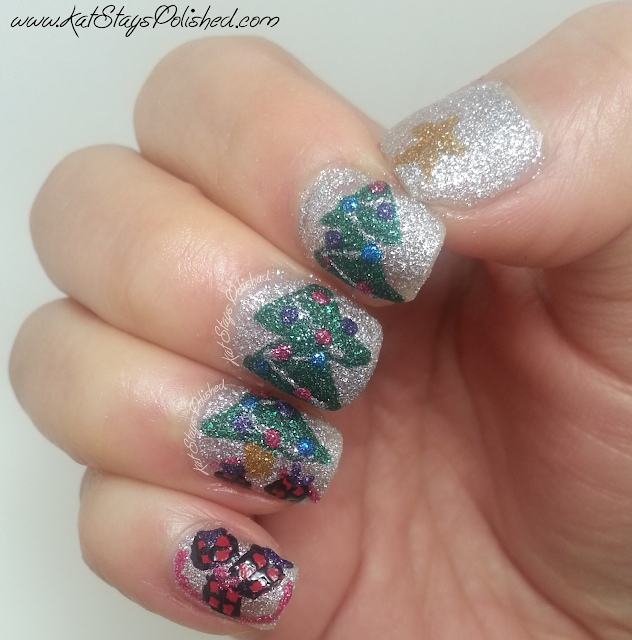 JulieG Holiday Frosted Gum Drops - Christmas Tree Nail Art