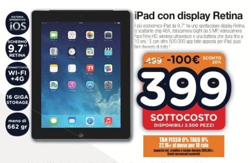In vendita a prezzo sottocosto di 399 euro e finanziabile in 18 rate il tablet Apple iPad con display retina