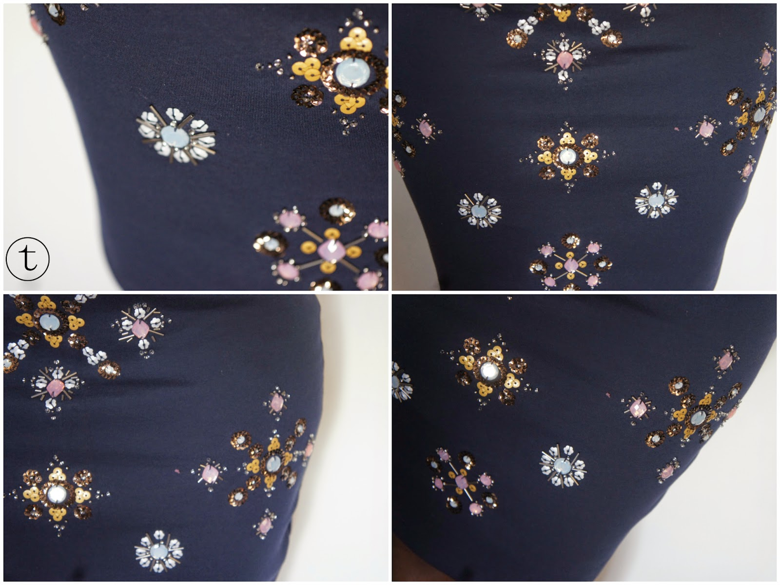 blue pencil skirt with sequins