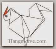 Bước 15: Vẽ mắt, tô mào đỏ để hoàn thành cách xếp con gà trống bằng giấy theo phong cách origami.