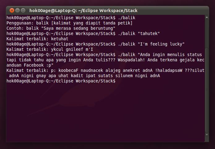 Contoh penggunaan program sederhana saya