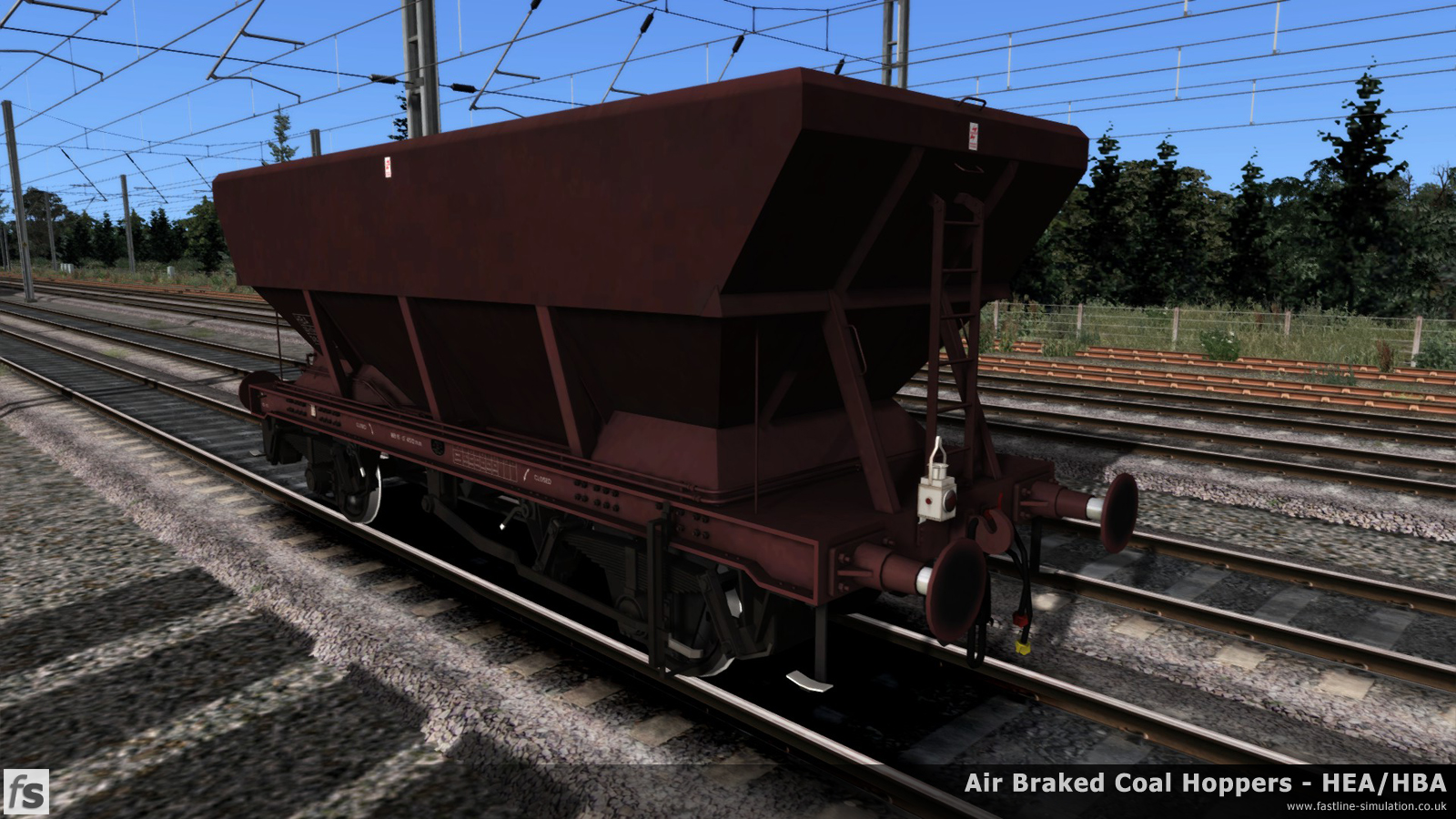 Fastline Simulation - HBA/HEA Coal Hoppers: An essentially complete screen shot of one of the earliest examples of an HBA hopper with a central ladder and long link suspension painted in all over maroon livery.