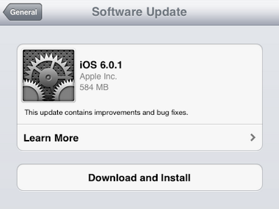 iOS 6.0.1 Software Update is now Available! Direct Download links here!