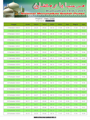 Jadwal Imsakiyah Kota Madiun Ramadhan 1436 H