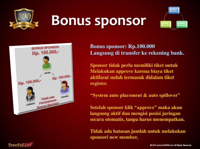 Bonus Sponsor Bisnis PF200