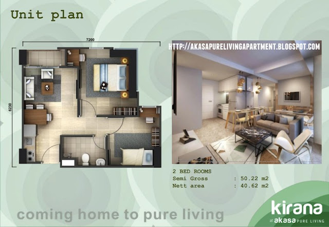 Tipe 2 BR Akasa Pure Living BSD Apartment Tower Kirana