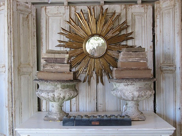 Sunburst Mirror for Home Decor with antique urns