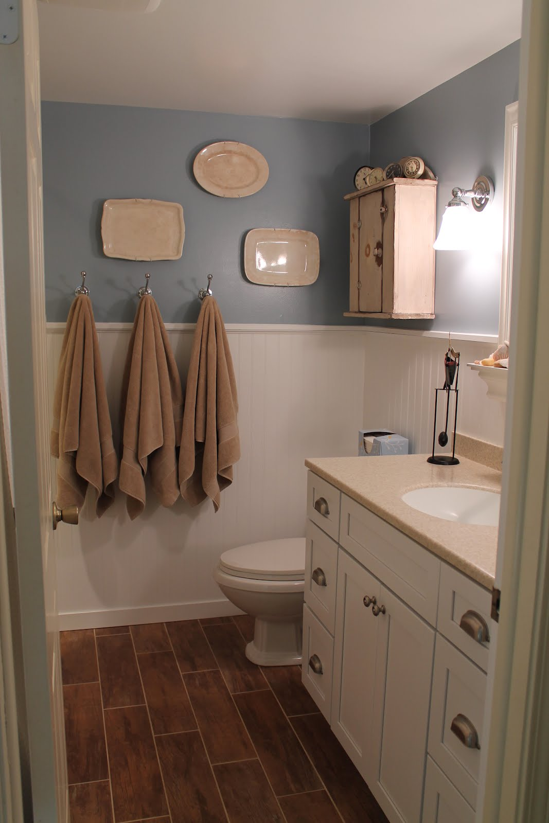 remodelaholic | bathroom renovation with wood grain tile and more