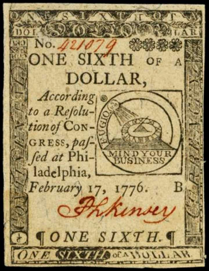 Continental Currency One-Sixth of a Dollar 1776 Fugio Note