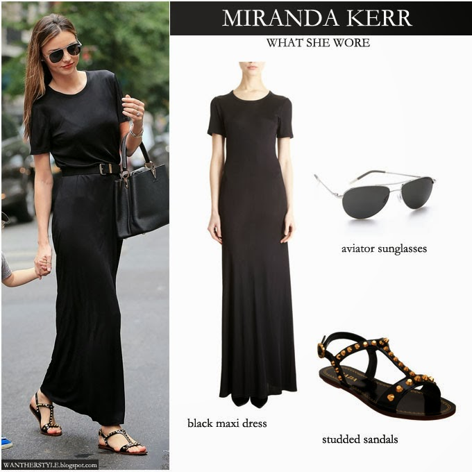 WHAT SHE WORE: Miranda Kerr in black short sleeve maxi dress with ...