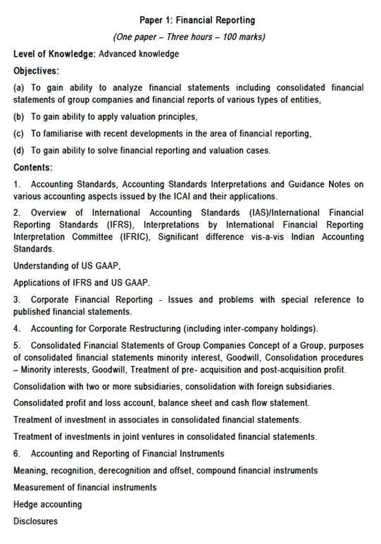 SYLLABUS PAPER 1 CA FINAL FINANCIAL REPORTING