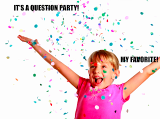 young girl throwing confetti with the saying its a question party my favorite
