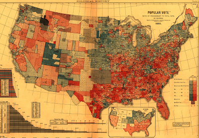 That S A Very Detailed County Level Map Of The 1880 Presidential Election Results Published In 1889 The Abstract Contains Similar Maps Of Earlier