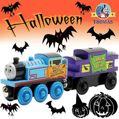 Toy trick or treat haunted ghost train ride Happy Halloween Thomas and Caboose wooden railway set