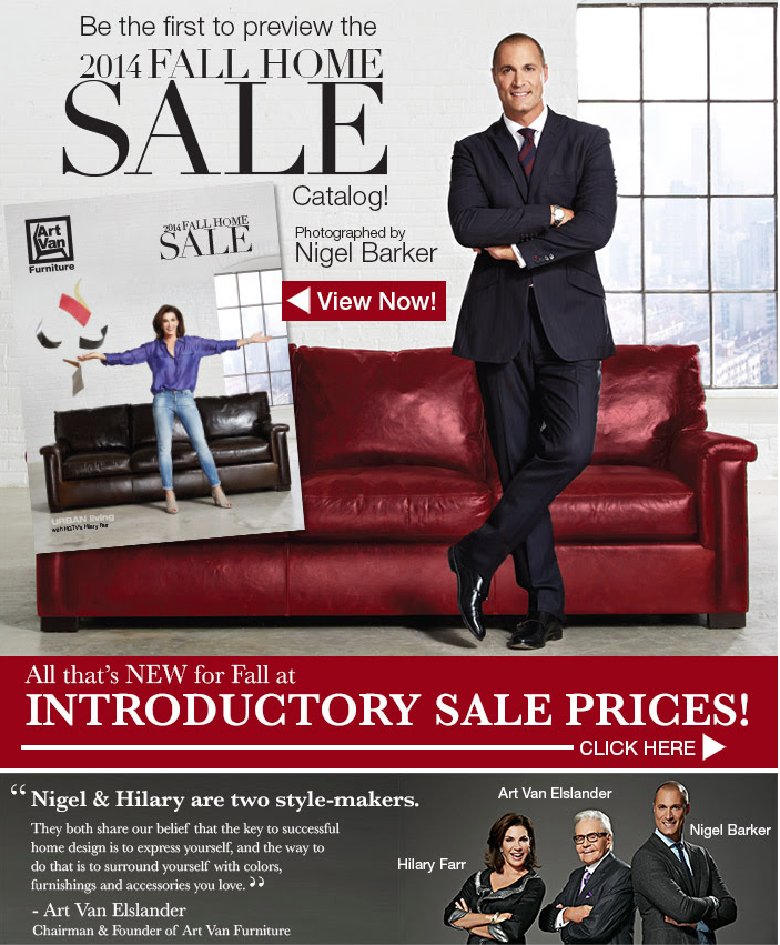 heres a look behind the scenes for art van furnitures fall 2014 catalog with photographer and spokesman nigel barker thanks to my agents at factor barker furniture