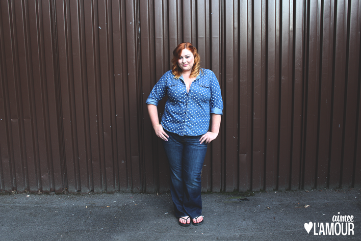 Old,Navy,Plus,Tummy,Tamer,bootleg,Jeans,polka,dot,double,denim,shirt,New,Look,Shoes,Aimee,L'amour,redhead,red,hair,blog,blogger,Canada,Fashion,Style