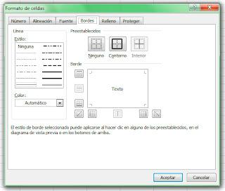 Formato de celdas en Excel 2007. Bordes