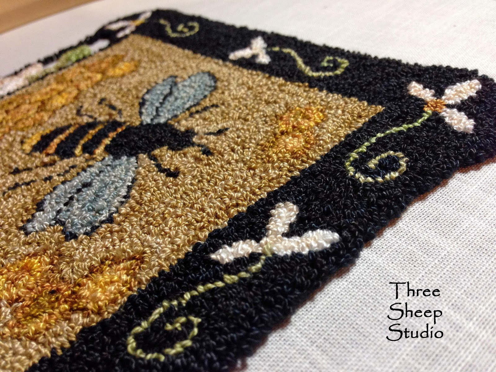 Sweet Honeycomb Punch Needle Embroidery design by Rose Clay at ThreeSheepStudio.com