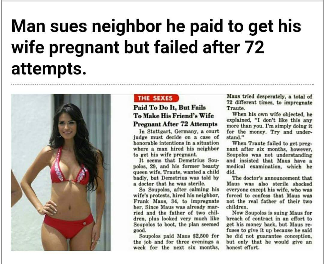 Neighbour Sues Man He Paid To Get His Wife Pregnant For ...