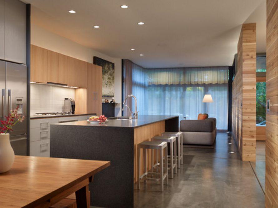 contoh interior untuk dapur modern bernuansa alami terlihat rapi