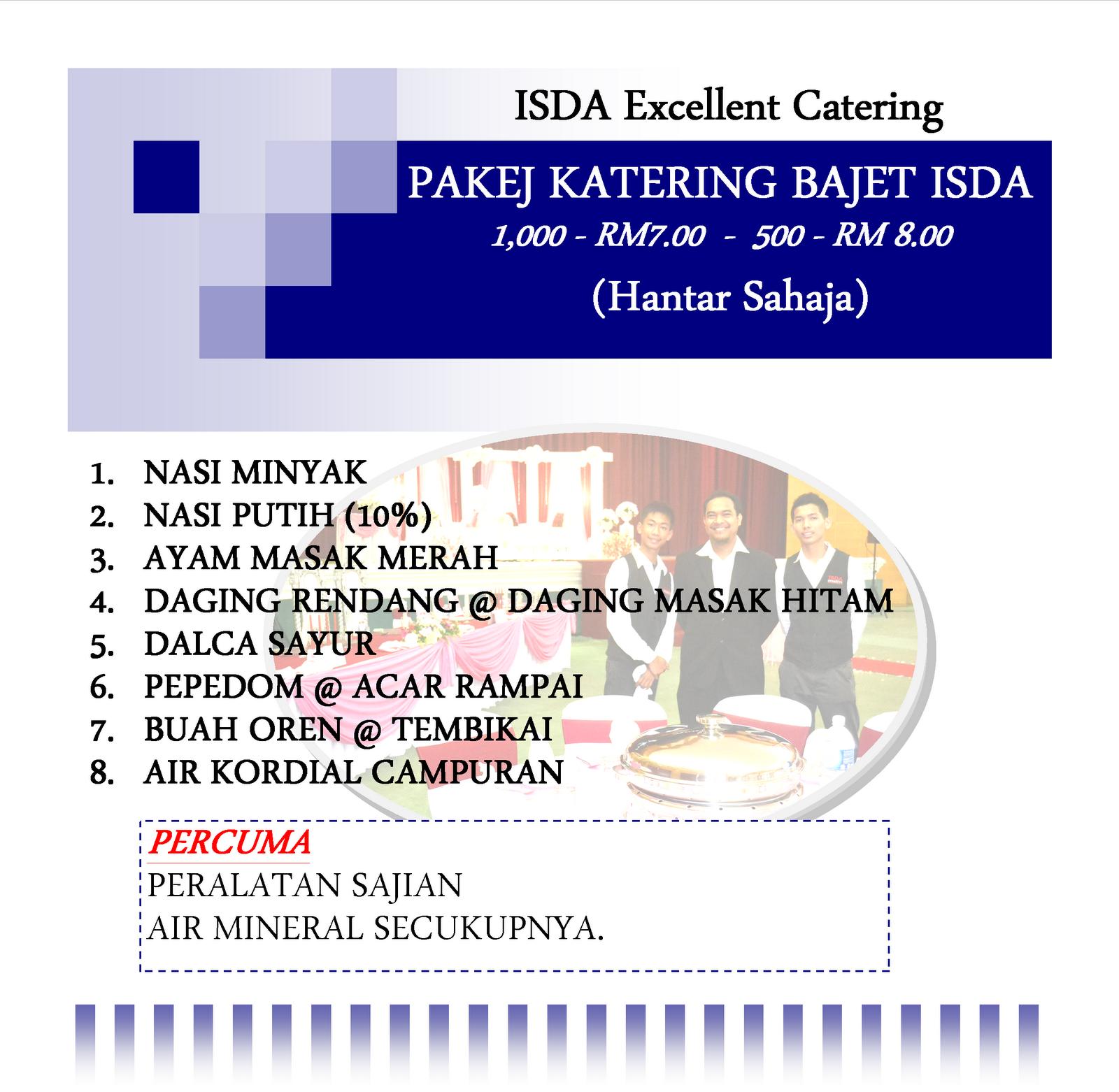Pakej Katering Perkahwinan ISDA Catering untuk tahun 2014 adalah